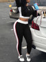 QueenLine Autumn Women Two Pieces Casual Tracksuit Side-striped Crop Tops Ankle-length Pants Sportwear Set NEW S-XL