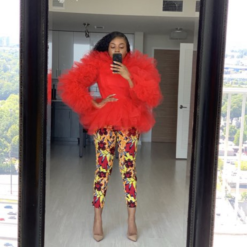 Red Tulle Top Long Sleeve Lush Puffy Tulle Prom Party Wear Special Occasion Gown Robe De Soiree In Dresses From Women S Clothing On Aliexpress