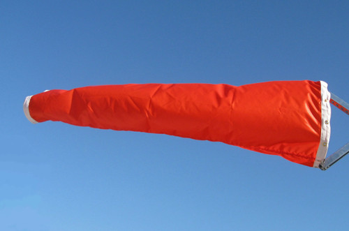 "18"" diameter x 96"" long vinyl windsock for commercial, industrial and aviation industries."