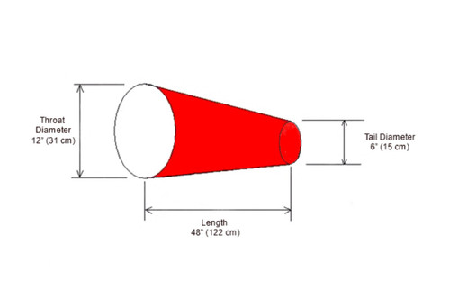 "12"" Diameter x 48"" Long Windsock Diagram"