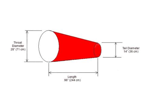 """28"""" Diameter x 96"""" Long Windsock Diagram"""