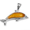 Sterling Silver Koa Dolphin Pendant - Med