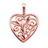 14K Hawaiian Heart Cut Out Scroll Pendant