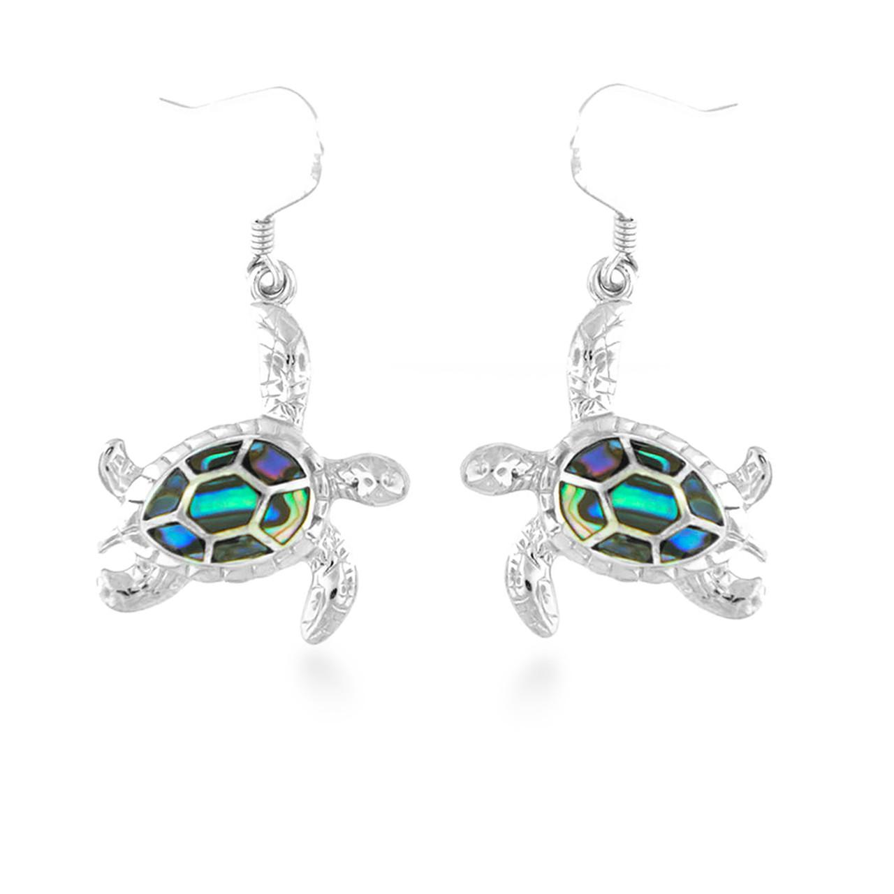 Beach Lover Gift Sterling Silver Abalone Shell Dangle Earrings Abalone Turtle  Earrings