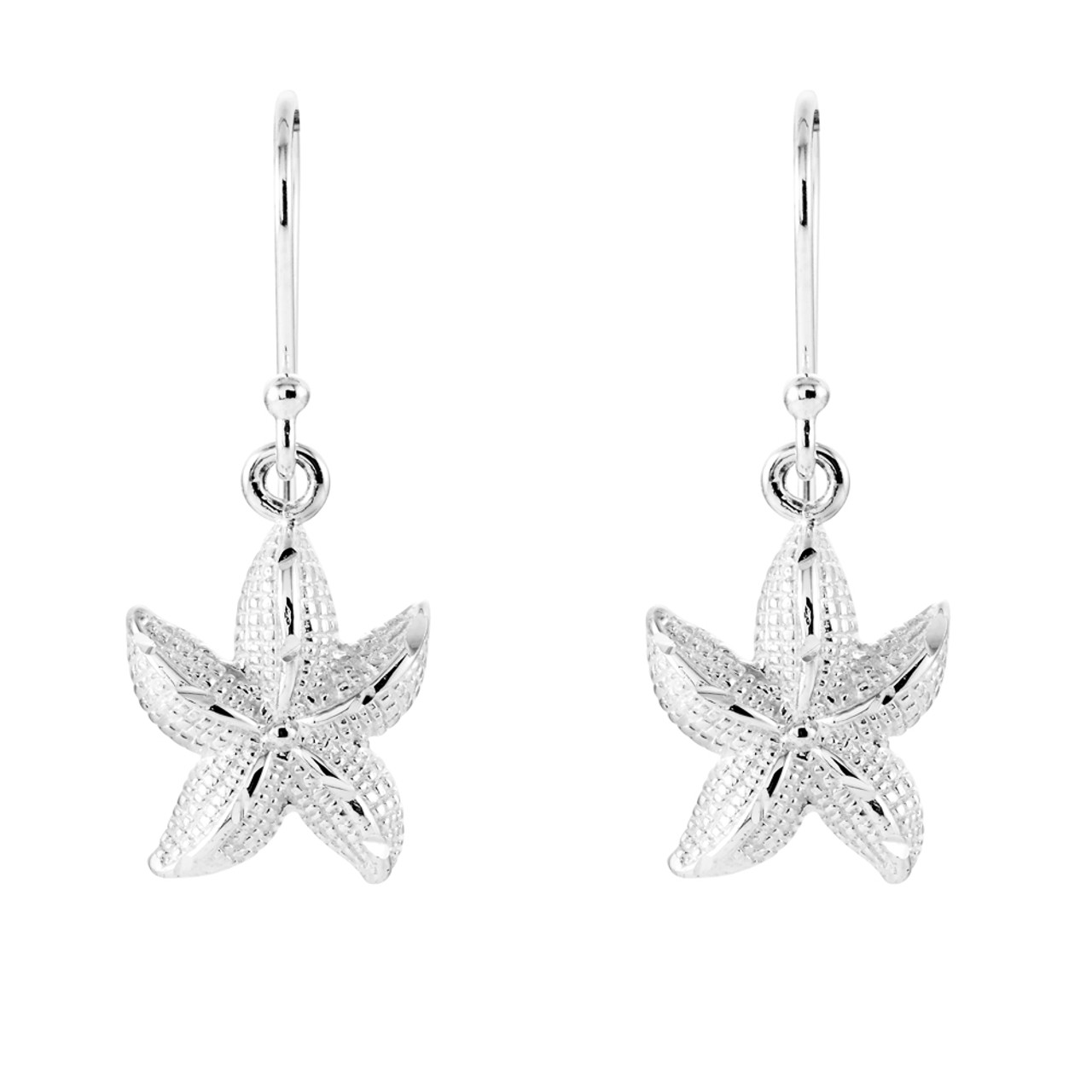 Sterling Silver Starfish French Wire Earrings