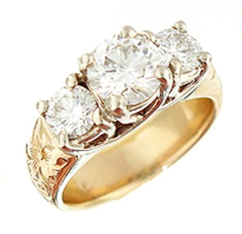 14K Hawaiian Diamond Mau Loa 3 Stone Ring 1.0ctw