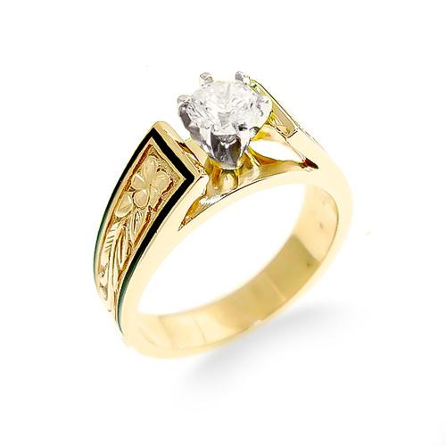 14K Hawaiian Diamond Ring - Plumeria Grande Borders