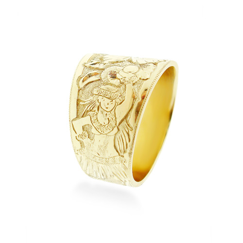 14K Hawaiian Ring Royal Hula