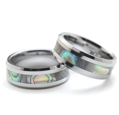 Tungsten & Abalone 8mm Ring