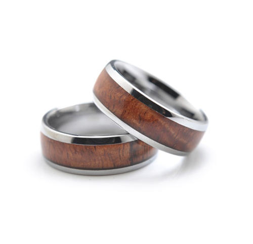 Tungsten and Koa 8mm Ring