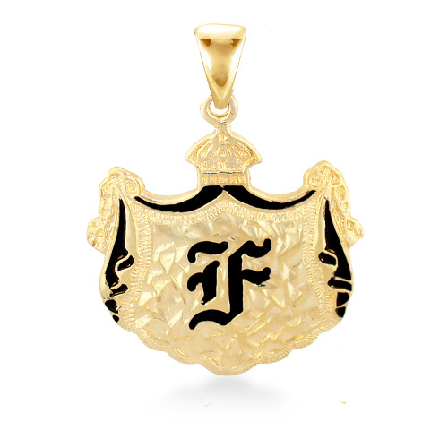 14K Hawaiian Initial Coat of Arms Pendant - Lrg