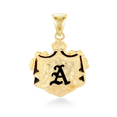 14K Hawaiian Initial Coat of Arms Pendant - Med