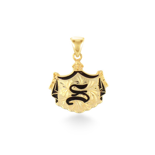 14K Hawaiian Coat of Arms Initial Pendant - Small