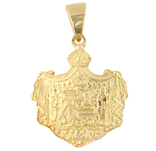 14K Hawaiian Coat of Arms Pendant - Medium