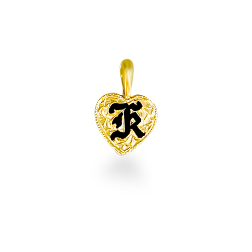 14K Hawaiian Heart Initial Pendant - 9mm