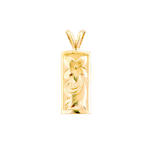 14K Hawaiian Vertical 8mm Pendant - Pua Li'i Emma