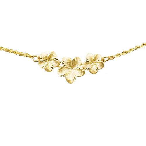 14K Plumeria Necklace - 3 Flower