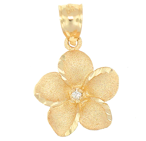 14K Plumeria Pendant - Icicle 16mm w/ Diamond