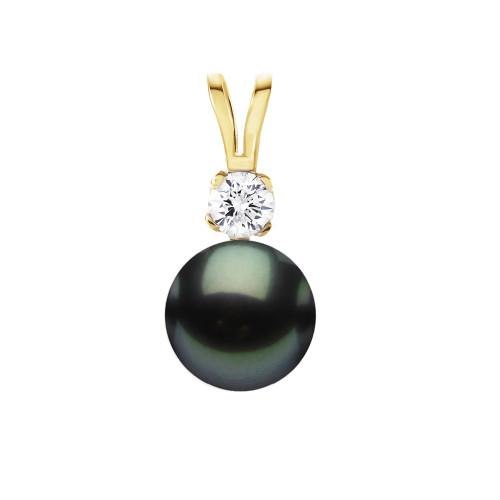 14K Tahitian Pearl Pendant - Diamond .03pt