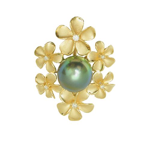 14K Tahitian Pearl Pendant - Plumeria Haku