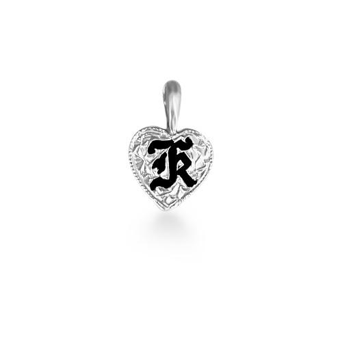 Sterling Silver Hawaiian Initial Heart Pendant - 9mm