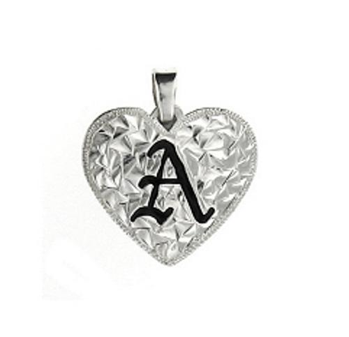 Sterling Silver Hawaiian Pendant - Heart Initial