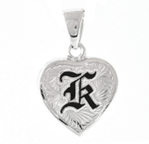 Sterling Silver Hawaiian Pendant - Heart Initial 16mm