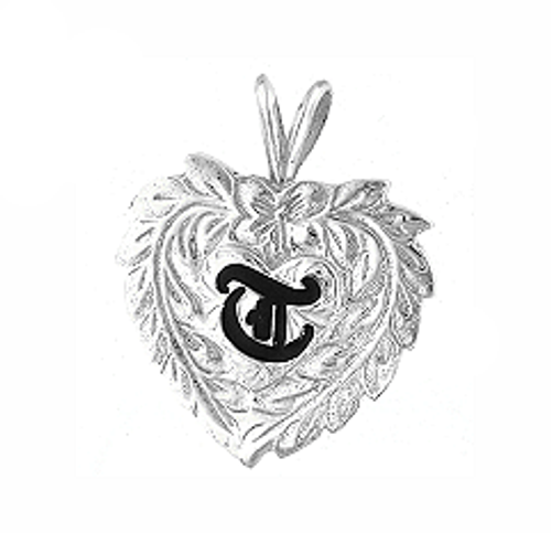 Sterling Silver Hawaiian Pendant - Initial Heart Maile