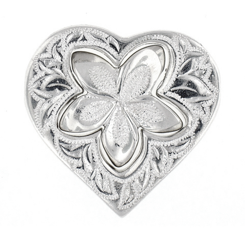 Sterling Silver Hawaiian Pendant - Kuualoha Heart