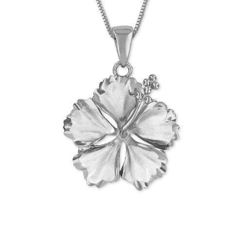Sterling Silver Hibiscus Pendant - 15mm