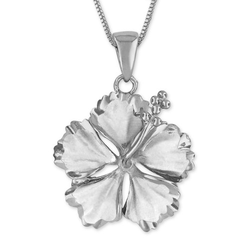 Sterling Silver Hibiscus Pendant - 23mm