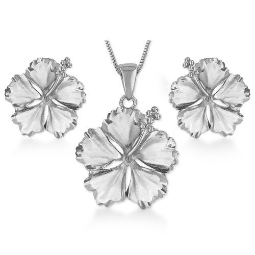 Sterling Silver Hibiscus Set