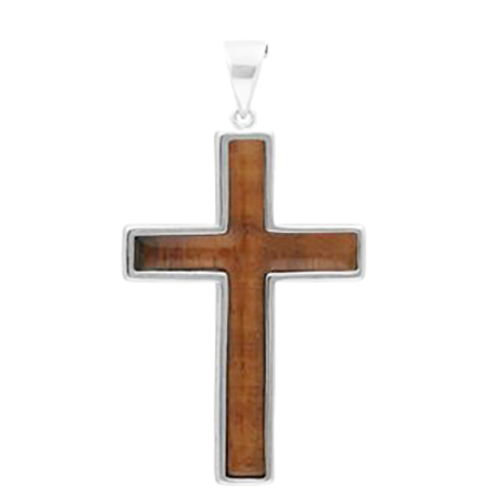 Sterling Silver Koa Cross Pendant