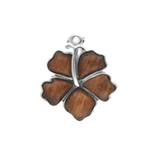 Sterling Silver Koa Hibiscus Pendant w/ Chain - 18mm
