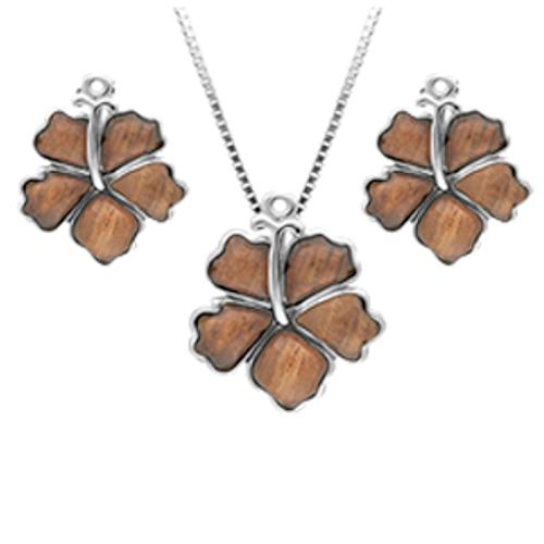 Sterling Silver Koa Hibiscus Set