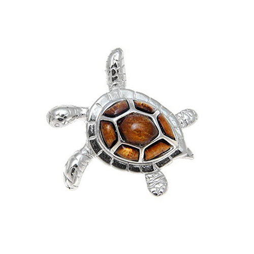 Sterling Silver Koa Sea Turtle Pendant - Sm