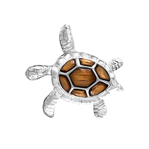 Sterling Silver Koa Sea Turtle Pendant - Med
