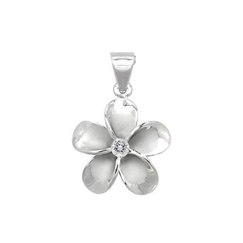 Sterling Silver Plumeria Pendant - 15mm