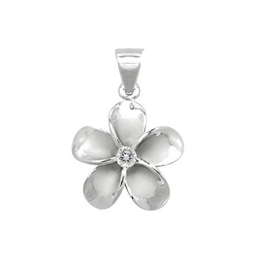 Sterling Silver Plumeria Pendant - 25mm