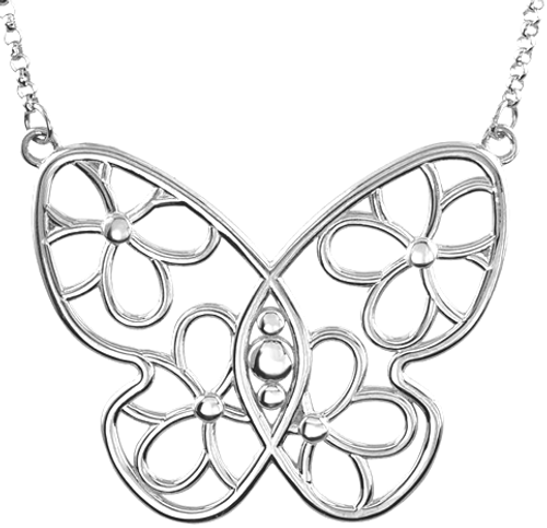 Sterling Silver Plumeria Pulelehua Necklace - Large