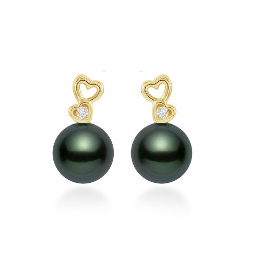 14K Black Tahitian Pearl Earrings - Diamond Hearts