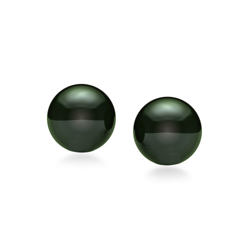 14K Black Tahitian Pearl Earrings - Studs