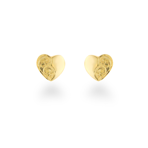 14K Hawaiian Heart Earrings - 7mm