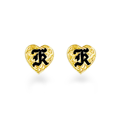 14K Hawaiian Heart Initial Earrings - 9mm