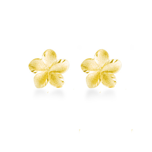 14K Plumeria Earrings - Icicle 10mm