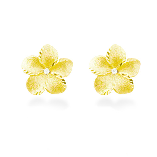 14K Plumeria Icicle Earrings  13mm w/ Diamonds