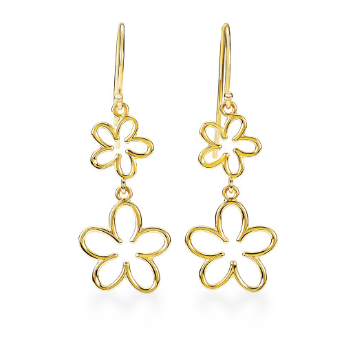 14K Plumeria Earrings Cut Out 2 Flower