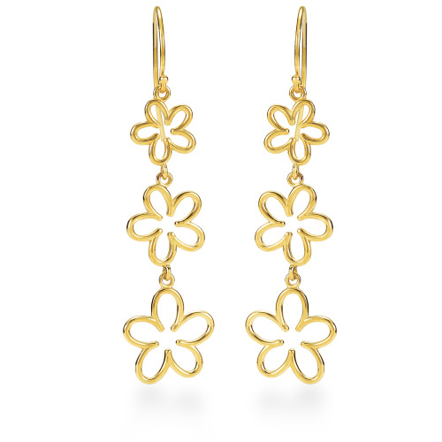 14K Plumeria Earrings - Open 3 Flower Dangle