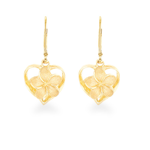 14K Plumeria Royal Heart Earrings