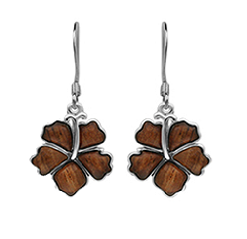 Sterling Silver Koa Hibiscus Earrings - 12mm Dangle